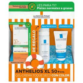 La Roche Posay anthelios XL FPS50+ Gel Crema Toque Seco Con Color 50Ml+Agua Termal 50Ml+Posthelios 40Ml