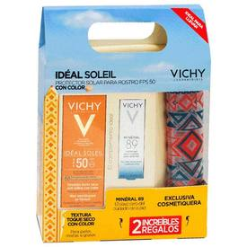 Vichy ideal soleil Protector Solar Toque Seco FPS50 Color 50Ml+ Mineral 89  5Ml+ Cosmetiquera