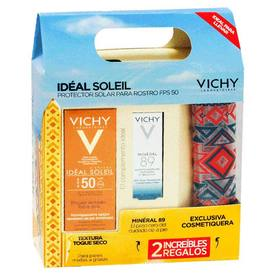 Vichy ideal soleil Emulsión Antibrillo FPS50 Toque Seco 50Ml+Mineral 89 5Ml + Cosmetiquera