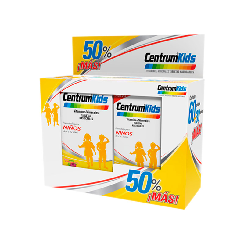 Centrum Kids 2 Frascos de 60 y 30 Tabletas